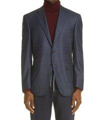 men's big & tall canali sienna soft classic fit plaid wool sport coat, size 50 us - blue