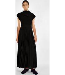 proenza schouler gauze combo draped knit dress black 8