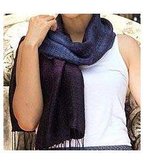 silk scarf, 'blues evolution' (thailand)