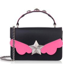 les jeunes etoiles designer handbags, black & pink fluo top handle vega mini bag
