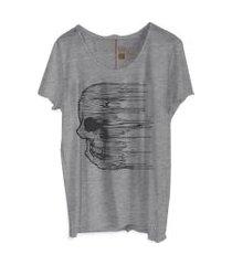 camiseta my t-shirt corte à fio caveira cidades mescla