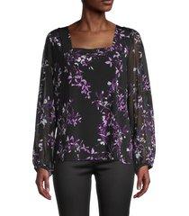 calvin klein women's floral sheer-sleeve top - black multi - size s
