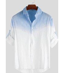incerun hombre algodón ombre casual manga larga camisa