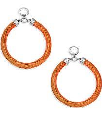 orange-plated silvertone drop hoop earrings