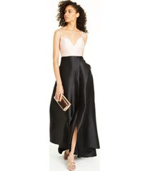 jump juniors' embellished-strap colorblocked gown