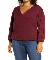 loveappella loveapella wrap front blouson top, size 2x in dark burgundy at nordstrom
