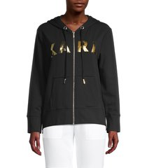 karl lagerfeld paris women's metallic lettered hoodie - soft white - size xs