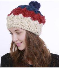 cappello invernale lavorato a maglia caldo da donna con cappuccio in pelliccia con cappuccio in pelliccia