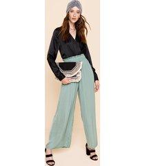 women's tera satin wide leg pants in mint by francesca's - size: l