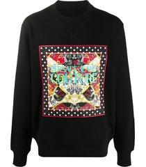 versace jeans couture baroque-print logo sweatshirt - black