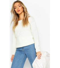 slash neck fisherman sweater, ivory