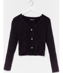 womens button-down for whatever fluffy knit cardigan - black