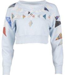 powder blue patchwork sweatshirt