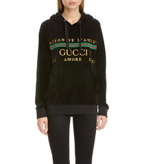 women's gucci oversize embroidered velour hoodie