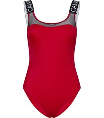 scoop back piece-rp baddräkt badkläder röd calvin klein