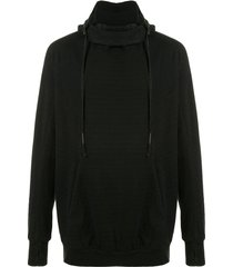 boris bidjan saberi cowl-neck hooded sweatshirt - black