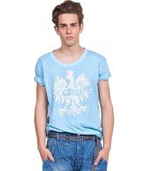 t-shirt męski z orłem jasnoniebieski