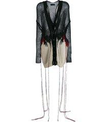 isabel benenato destroyed knit cardigan - black