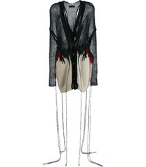 isabel benenato destroyed knit cardigan - black