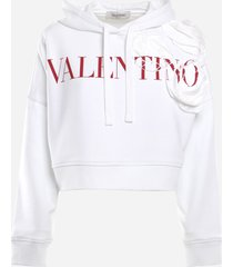 valentino cotton sweatshirt with rose blossom embroidery