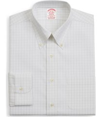 brooks brothers madison classic fit stretch windowpane dress shirt, size 18.5 - 36 in open white at nordstrom