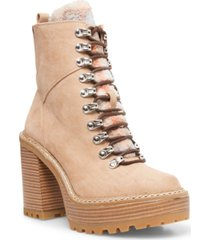 madden girl kikki lace-up platform lug sole hiker booties