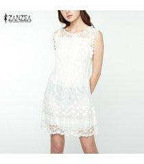 zanzea mujeres sin mangas de encaje crochet loose summer casual mini vestido corto plus -blanco