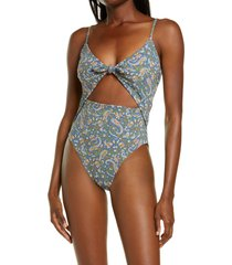 women's veronica beard aniston cutout one-piece swimsuit, size x-small - blue