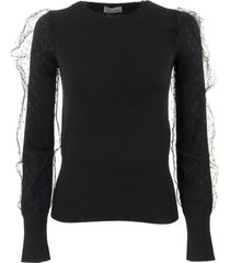 red valentino stretch viscose and point desprit tulle sweater