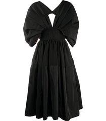 alexander mcqueen cape-style sleeves midi dress - black