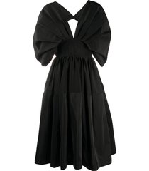 alexander mcqueen cape-style sleeves midi dress - black
