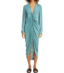 women's bottega veneta cinch front long sleeve dress, size medium - blue