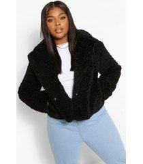 plus korte faux fur teddy jas, black