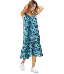 vestido azul vindaloo  estampa