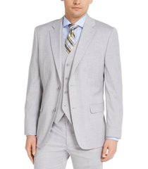 alfani men's classic-fit stretch gray solid suit jacket, created for macy's