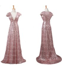 many sizes long v neck cap sleeve rose gold sequin prom homecoming dresses