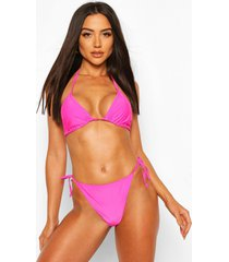 basic triangle tie bikini, hot pink