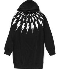 neil barrett black cotton lightning print hoodie