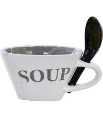 bowl soup com colher tigela cinza kasa ideia