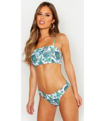 petite paisley print padded bandeau bikini top, white