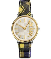 stainless steel & plaid leather-strap watch