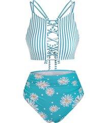 lattice criss cross stripes daisy print tankini swimwear