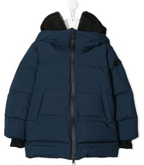 ai riders on the storm padded hooded coat - blue