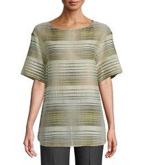 lafayette 148 new york women's striped short-sleeve top - black multi - size xs