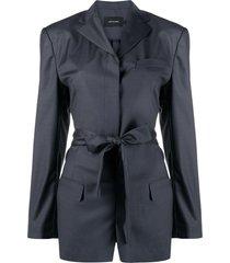low classic tie-waist playsuit - blue