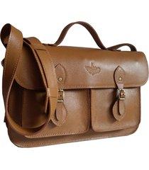 bolsa line store leather satchel pockets média couro caramelo