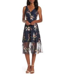 women's vince camuto floral embroidered mesh midi dress