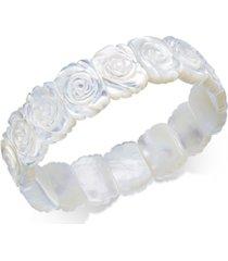 mother-of-pearl rose carved stretch bracelet