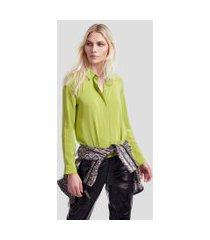 camisa de seda manga longa verde brilhante - 40