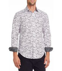 tallia men's slim fit black/white paisley long sleeve shirt and a free face mask with purchase